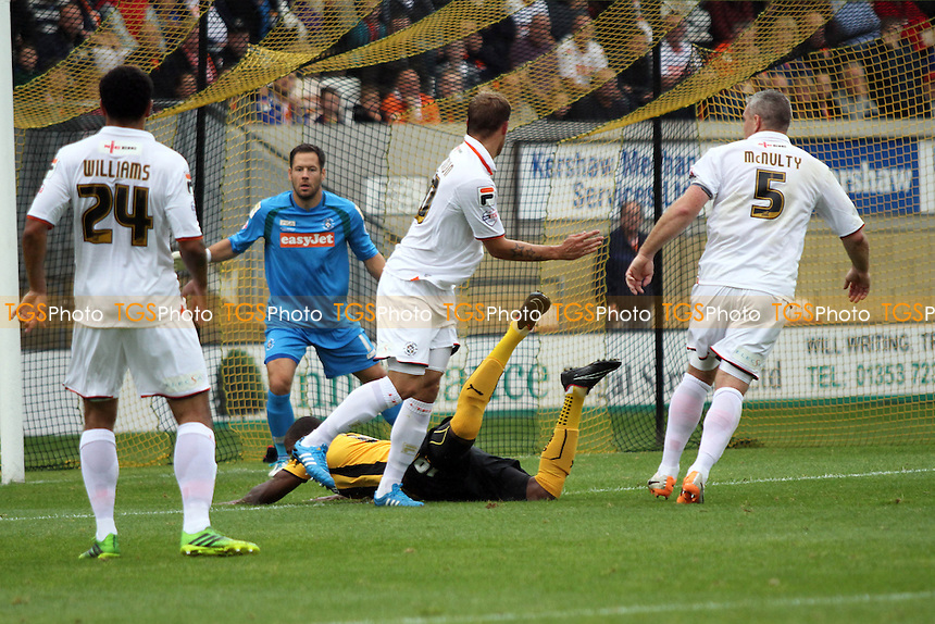Tom Elliott (Cambridge United) goes down but no penalty - Cambridge United vs Luton Town - Sky Bet League Two Football at the Abbey Stadium, Cambridge - 20/09/14 - MANDATORY CREDIT: Mick Kearns/TGSPHOTO - Self billing applies where appropriate - contact@tgsphoto.co.uk - NO UNPAID USE