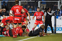 Beno Obano of Bath Rugby scores the opening try of the match. European Rugby Champions Cup match, between Bath Rugby and RC Toulon on December 16, 2017 at the Recreation Ground in Bath, England. Photo by: Patrick Khachfe / Onside Images
