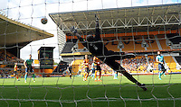 Pictured: Saturday 30 July 2016<br /> Re: Wolverhampton Wanderers v Swansea City FC, pre-season friendly at the Molineux Stadium, England, UK<br /> Swan's Wayne Routledge shot goes past Wolves keeper Carl Ikeme