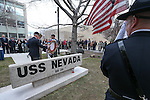 Bud Southard, president of the Navy League, veteran Charles Sehe and Gov. Brian Sandoval lay a wreath at the state memorial during the USS Nevada Centennial Ceremony at the Capitol in Carson City, Nev., on Friday, March 11, 2016. Cathleen Allison/Las Vegas Review-Journal