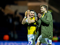 Leeds United's Patrick Bamford and Jack Harrison share a joke after the final whistle<br /> <br /> Photographer Alex Dodd/CameraSport<br /> <br /> The EFL Sky Bet Championship - Preston North End v Leeds United -Tuesday 9th April 2019 - Deepdale Stadium - Preston<br /> <br /> World Copyright &copy; 2019 CameraSport. All rights reserved. 43 Linden Ave. Countesthorpe. Leicester. England. LE8 5PG - Tel: +44 (0) 116 277 4147 - admin@camerasport.com - www.camerasport.com