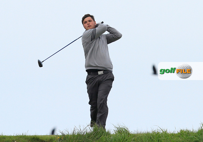 Stuart Bleakley (Shandon Park) on the 14th tee during Round 3 of the Irish Amateur Open Championship at Royal Dublin on Saturday 9th May 2015.<br /> Picture:  Thos Caffrey / www.golffile.ie
