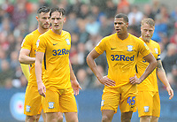 (L-r) Preston North End's Andrew Hughes, Ben Davies, Lukas Nmecha and Tom Clarke await a corner<br /> <br /> Photographer Kevin Barnes/CameraSport<br /> <br /> The EFL Sky Bet Championship - Swansea City v Preston North End - Saturday August 11th 2018 - Liberty Stadium - Swansea<br /> <br /> World Copyright &copy; 2018 CameraSport. All rights reserved. 43 Linden Ave. Countesthorpe. Leicester. England. LE8 5PG - Tel: +44 (0) 116 277 4147 - admin@camerasport.com - www.camerasport.com