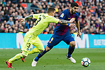 Luis Alberto Suarez Diaz of FC Barcelona (R) fights for the ball with Vitorino Gabriel Pacheco Antunes of Getafe CF (L) during the La Liga 2017-18 match between FC Barcelona and Getafe FC at Camp Nou on 11 February 2018 in Barcelona, Spain. Photo by Vicens Gimenez / Power Sport Images