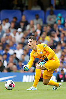 Kepa Arrizabalaga of Chelsea rolling the ball out during the Premier League match between Chelsea and Sheff United at Stamford Bridge, London, England on 31 August 2019. Photo by Carlton Myrie / PRiME Media Images.