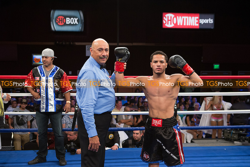 Raul Lopez vs Leopoldo Gonzalez in a featherweight boxing contest - ShoBox The New Generation at the Chumash Casino Resort in Santa Ynez, California - 21/09/12 - Dwight McCann/TGSPHOTO - Self billing applies where appropriate - 0845 094 6026 - contact@tgsphoto.co.uk - NO UNPAID USE.