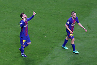 FC Barcelona's Leo Messi (l) and Jordi Alba celebrate goal during Spanish King's Cup Final match. April 21,2018. (ALTERPHOTOS/Acero)