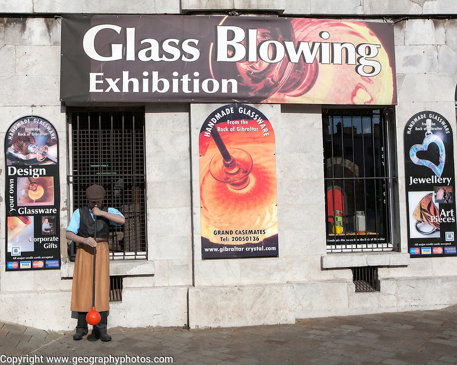 Glass blowing exhibition Gibraltar, British overseas territory in southern Europe