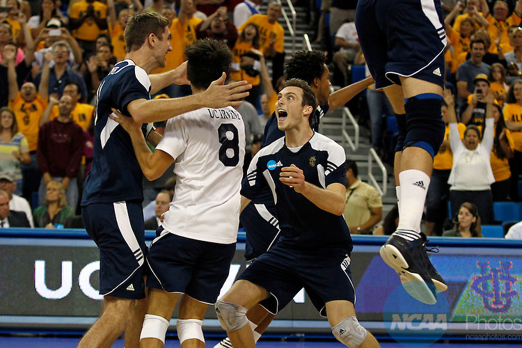04 MAY 2013:  University of California Irvine Zack La Cavera, right, lets out a scream with UCI's Michael Brinkley (8) at UCI's Scott Kevorken (L) after defeating Brigham Young University 3-0 in the Division I Men's Volleyball Championship held at Pauley Pavilion on the UCLA campus in Los Angeles, CA.  Alex Gallardo/NCAA Photos