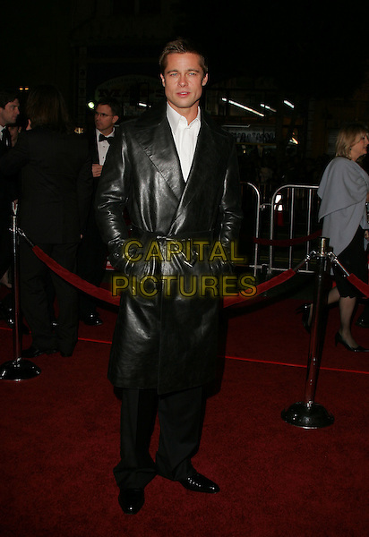 "BRAD PITT.The Warner Brothers' World Premiere of ""Ocean's Twelve"" held at The Grauman's Chinese Theatre in Hollywood, California .December 8th,2 004.full length, long black leather jacket, hands in pockets.www.capitalpictures.com.sales@capitalpictures.com.Supplied By Capital PIctures"