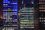City skyscrapers at night, Melbourne.<br /> <br /> Image by: Malcolm McCurrach   New Wave Images UK<br /> Thu, 6, March, 2014