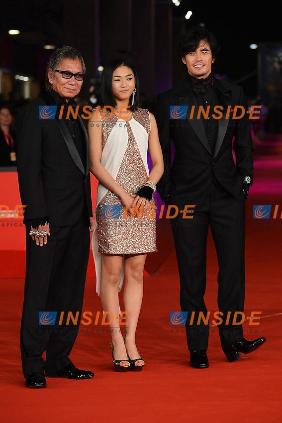 """Director Takashi Miike, actress Erina Mizuno, actor Hideaki Ito - movie """"Aku no kyoten / Lesson of Evil"""".Roma 9/11/2012 Auditorium.Festival del Cinema di Roma.Foto Guido Aubry Elipics"""