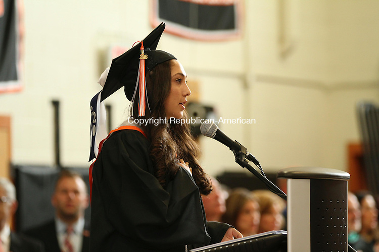WATERTOWN, CT, 10 June, 2016 - 061016LW08 - Graduate Julianna Rinaldi leads the Pledge of Allegiance at the Watertown High School commencement ceremony Friday. <br /> Laraine Weschler Republican-American