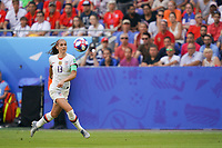 LYON, FRANCE - JULY 07: Alex Morgan #13 during the 2019 FIFA Women's World Cup France final match between the Netherlands and the United States at Stade de Lyon on July 07, 2019 in Lyon, France.