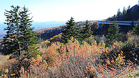 Stock photo - Linn Cove Viaduct seen from distance in fall, Blue Ridge Parkway North Carolina, America.