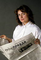 File Photo -  EXCLUSIVE - Columnist Nathalie Petrovski<br />  reading the PRAVDA,  in the eighties. Exact date unkonwn.<br /> <br /> photo  : Harold Beaulieu<br />  -  Agence Quebec Presse