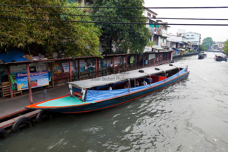 Khlong Saen Saeb is a canal (Khlong) in central Thailand, connecting the Chao Phraya River to Prachin Buri and Chachoengsao. A portion of the canal is used for public transport by an express boat service in Bangkok. The canal is lined with concrete walkways on either side in many areas where people stroll despite the foul smells of the canal, and in other areas the heavily polluted water oozes into adjacent properties, especially after heavy rainstorms. This is the express boat stop nearest to the Golden Mount Temple.