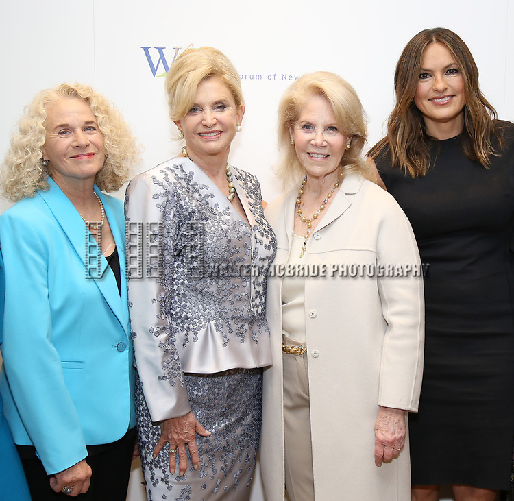 Carole King, Carolyn B. Maloney, Daryl Roth and Mariska Hargitay attends The 7th Annual Elly Awards at The Plaza Hotel on June 19, 2017 in New York City.