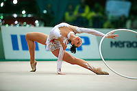 "Anna Bessonova of Ukraine begins hoop routine at 2008 World Cup Kiev, ""Deriugina Cup"" in Kiev, Ukraine on March 23, 2008."