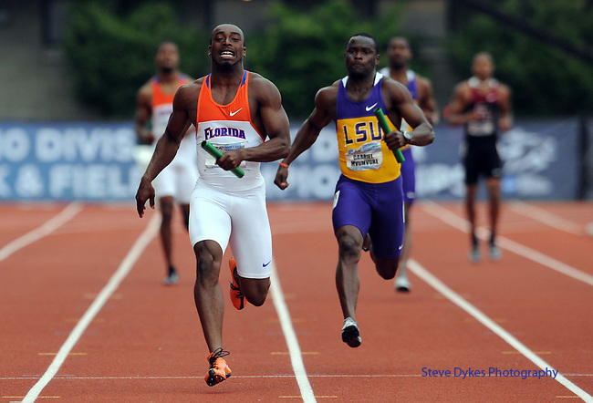 12 JUNE 2010: Jeff Demps of Florida leads Gabriel Mvumvure of Louisiana State as he heads to the finish line in the Mens 4 X 100 meter relay during the Division I Men's and Women's Track and Field Championship held at Hayward Field on the University of Oregon campus in Eugene, OR.  Steve Dykes/NCAA Photos