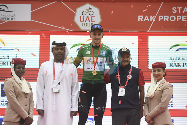 Stepan Kuriyanov (RUS) Gazprom–Rusvelo retains the Green Jersey at the end of Stage 6 and retains the Red Jersey of the 2019 UAE Tour, running 175km form Ajman to Jebel Jais, Dubai, United Arab Emirates. 1st March 2019.<br /> Picture: LaPresse/Fabio Ferrari | Cyclefile<br /> <br /> <br /> All photos usage must carry mandatory copyright credit (© Cyclefile | LaPresse/Fabio Ferrari)