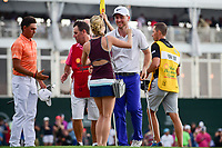 Russell Henley (USA) is congratulated by his wife, Teil,  following  round 4 of the Shell Houston Open, Golf Club of Houston, Houston, Texas, USA. 4/2/2017.<br /> Picture: Golffile | Ken Murray<br /> <br /> <br /> All photo usage must carry mandatory copyright credit (&copy; Golffile | Ken Murray)