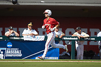 Will Wilson (8) of the North Carolina State Wolfpack jogs towards home plate after hitting a home run against the Army Black Knights at Doak Field at Dail Park on June 3, 2018 in Raleigh, North Carolina. The Wolfpack defeated the Black Knights 11-1. (Brian Westerholt/Four Seam Images)