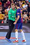 VELUX EHF 2017/18 EHF Men's Champions League Last 16.<br /> FC Barcelona Lassa vs Montpellier HB: 30-28.<br /> Perez de Vargas &amp; Raul Entrerrios.