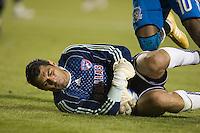 FC Dallas goalkeeper Dario Sala makes a save in front of Peguero Jean Phillipe..The San Jose Earthquakes tied FC Dallas 0-0, at Buck Shaw Stadium, in Santa Clara, California, Saturday, May 3, 2008. .