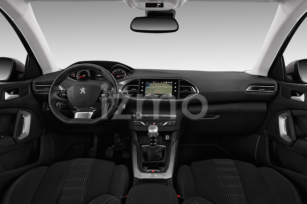 Stock photo of straight dashboard view of a 2018 Peugeot 308 SW Allure 5 Door Wagon