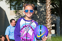 Orlando, Florida - Sunday, May 14, 2016: A young fan prior to a National Women's Soccer League match between Orlando Pride and New York Flash at Camping World Stadium.