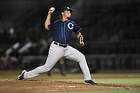Relief pitcher Alexander Vargas (34) of the Charleston RiverDogs delivers a pitch during a game against the Columbia Fireflies on Tuesday, August 28, 2018, at Spirit Communications Park in Columbia, South Carolina. Columbia won, 11-2. (Tom Priddy/Four Seam Images)