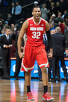 BROOKLYN, NY - Saturday December 19, 2015: Trevor Thompson (#32) of Ohio State celebrates his team's lead as the Buckeyes defeat Kentucky 74-67 in the CBS Classic at Barclays Center in Brooklyn, NY.