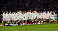 England sing the national anthem<br /> <br /> Photographer Bob Bradford/CameraSport<br /> <br /> NatWest Six Nations Championship - England v Wales - Saturday 10th February 2018 - Twickenham Stadium - London<br /> <br /> World Copyright &copy; 2018 CameraSport. All rights reserved. 43 Linden Ave. Countesthorpe. Leicester. England. LE8 5PG - Tel: +44 (0) 116 277 4147 - admin@camerasport.com - www.camerasport.com