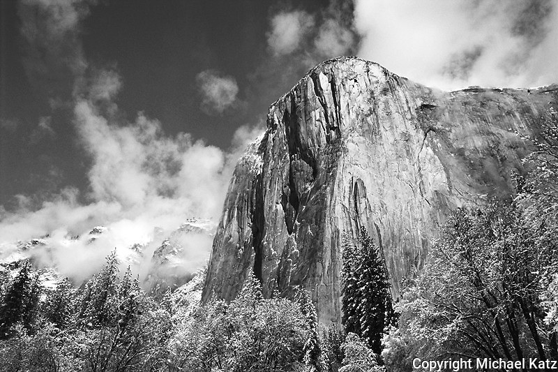 El Capitan looms over Yosemite Valley after a snowstorm.