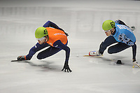 SHORTTRACK: DORDRECHT: Sportboulevard Dordrecht, 25-01-2015, ISU EK Shorttrack, Relay Men Final, Daan BREEUWSMA (NED | #49), Vladimir GRIGOREV (RUS | #62), ©foto Martin de Jong