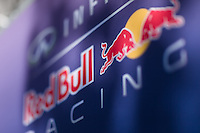 March 14, 2014: Signage at the Infiniti Red Bull Racing team garage at the 2014 Australian Formula One Grand Prix at Albert Park, Melbourne, Australia. Photo Sydney Low.