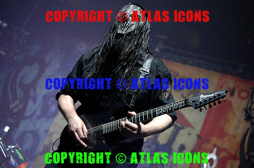 Slipknot Performs on there All Hope Is Gone World Tour (2008–2009).(#7) Mick Thomson – guitars .Photo Credit: Eddie Malluk/AtlasIcons.com