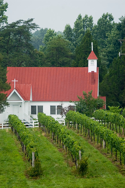 Jefferson Vineyards and St. Luke's Episcopal Church near Charlottesville, Virginia.  Thomas Jeffeson grew grapes on this land.
