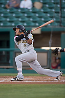 Salt Lake Bees center fielder Michael Hermosillo (6) follows through on his swing during a Pacific Coast League game against the Fresno Grizzlies at Chukchansi Park on May 14, 2018 in Fresno, California. Fresno defeated Salt Lake 4-3. (Zachary Lucy/Four Seam Images)