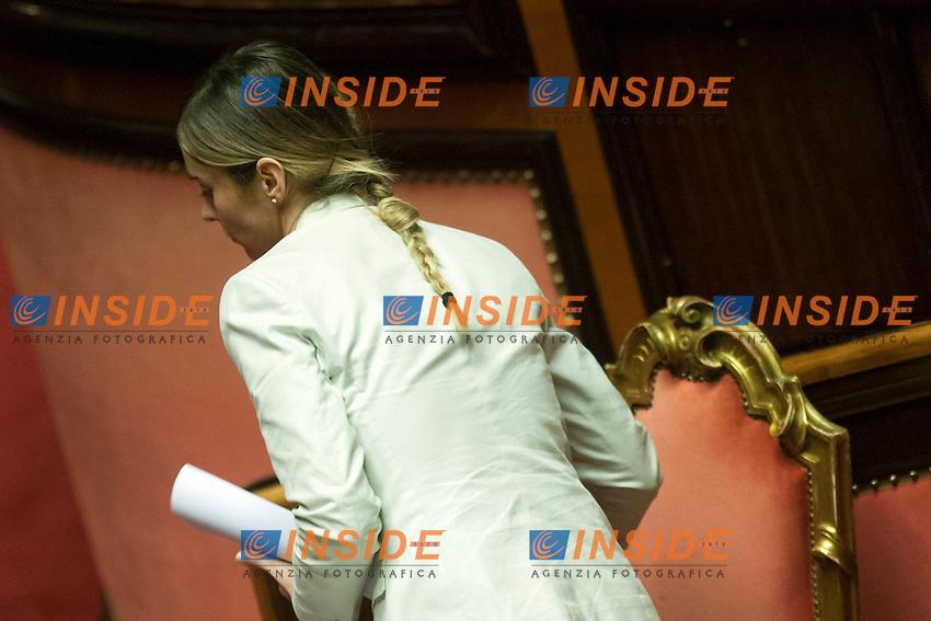 Maria Elena Boschi con la treccia<br /> Roma 04-08-2014  Senato. Discussione sul DdL Riforme costituzionali che prevede anche la riforma del Senato. <br /> Photo Samantha Zucchi Insidefoto