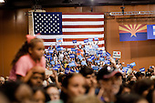 PHOENIX, ARIZONA, USA, 20/10/2016:<br /> Supporters of Hillary Clinton are cheering during the rally in Phoenix, AZ, attended by Michelle Obama. Hillary Clinton has the widest support among women and non-white communities.<br /> Arizona, traditionally very republican state, has become a swing state with both main candidates equally scoring in polls. (Photo by Piotr Malecki / Napo Images)