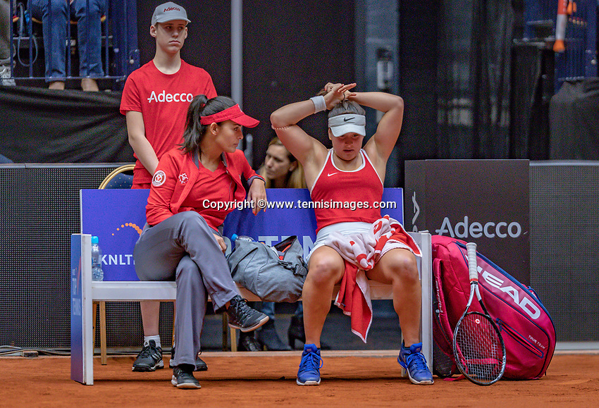Den Bosch, The Netherlands, Februari 9, 2019,  Maaspoort , FedCup  Netherlands - Canada, First round match : Bianca Andreescu (CAN) on the Bench<br /> Photo: Tennisimages/Henk Koster