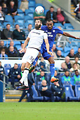 30th September 2017, Cardiff City Stadium, Cardiff, Wales; EFL Championship football, Cardiff City versus Derby County; Joe Ledley of Derby County and Loic Damour of Cardiff City jump for the high ball
