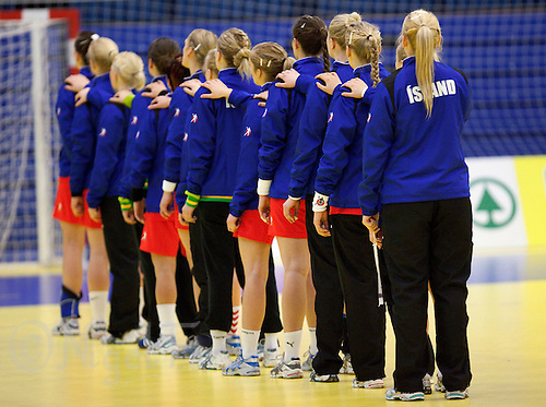 31 MAR 2010 - LONDON, GBR - The Icelandic team stand for their national anthem before the Great Britain v Iceland 2010 European Womens Handball Championships qualifier .(PHOTO (C) NIGEL FARROW)