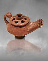 Bronze Age Anatolian terra cotta three spouted teapot - 19th to 17th century BC - Kültepe Kanesh - Museum of Anatolian Civilisations, Ankara, Turkey.