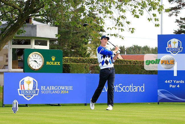 Renato Paratore (ITA) on the 1st tee during Day 2 Singles for the Junior Ryder Cup 2014 at Blairgowrie Golf Club on Tuesday 23rd September 2014.<br /> Picture:  Thos Caffrey / www.golffile.ie