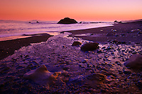 Sombrio Beach on Juan de Fuca Strait after sunset, southern Vancouver Island, British Columbia, Canada.