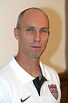 """9 September 2008: US Men's soccer head coach Bob Bradley (USA). US Soccer held a press conference in preparation for their semifinal round World Cup Qualifying match against Trinidad and Tobago.  The press conference was held at """"Soccer House"""", the US Soccer offices in Chicago, Illinois."""