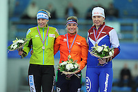SPEED SKATING: STAVANGER: Sørmarka Arena, 31-01-2016, ISU World Cup, Podium 300m Ladies Division B, Bente Kraus (GER), Linda de Vries (NED), Yuliya Skokova (RUS), ©photo Martin de Jong